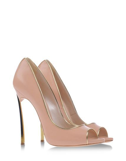Casadei Rose Pink With Gold Detailing Stiletto Pumps Opentoe