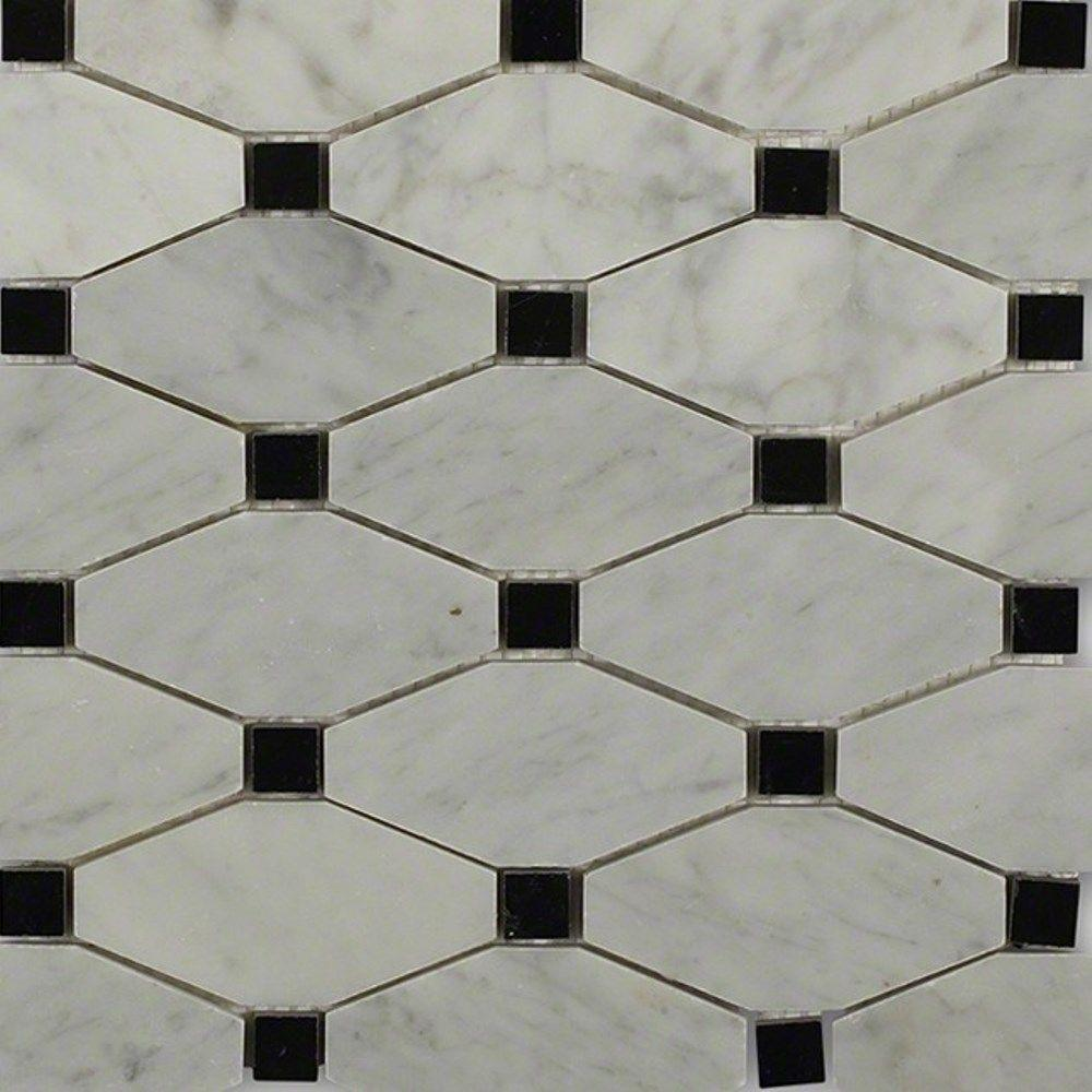 Ivy Hill Tile Diapson White Carrera With Black Dot Polished Marble