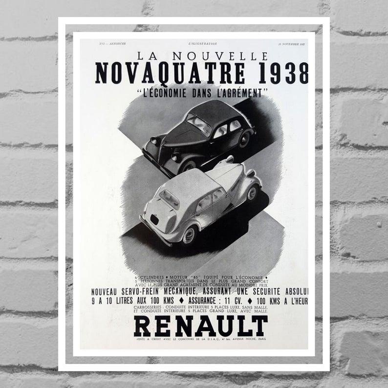 Renault Novaquatre 1938 Cars Kodascope Film Projector Double Etsy Vintage Posters Renault Vintage Advertisements