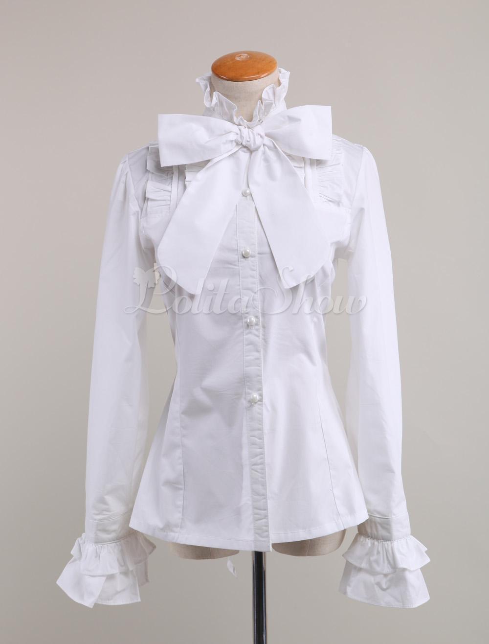 107f810fc2d03 Lolitashow White Cotton Lolita Blouse Long Sleeves Stand Collar Bow Ruffles  - Lolitashow.com