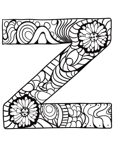 Letter Z Zentangle Coloring Page From Zentangle Alphabet Category Select From 30586 Printable Cra Coloring Letters Free Coloring Pages Alphabet Coloring Pages