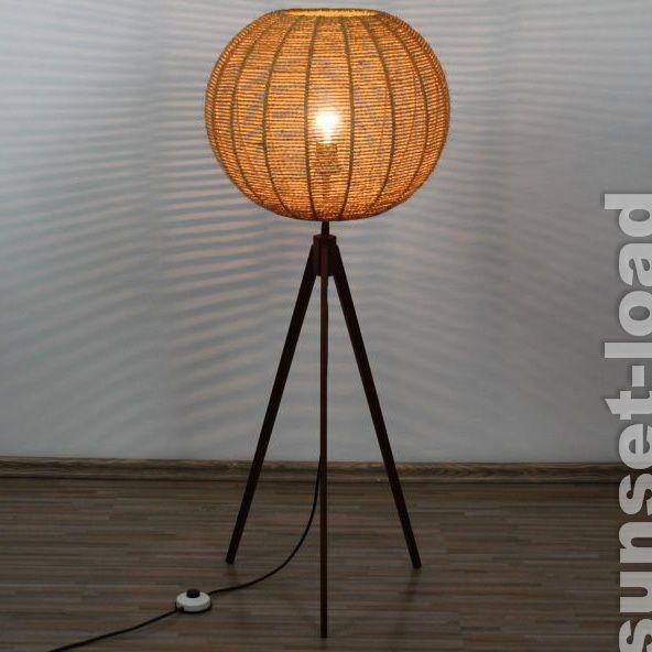 Tripod Lampe Teak 106cm Kokos Faser Drei Bein alte 50er 60er Jahre Boden Leuchte