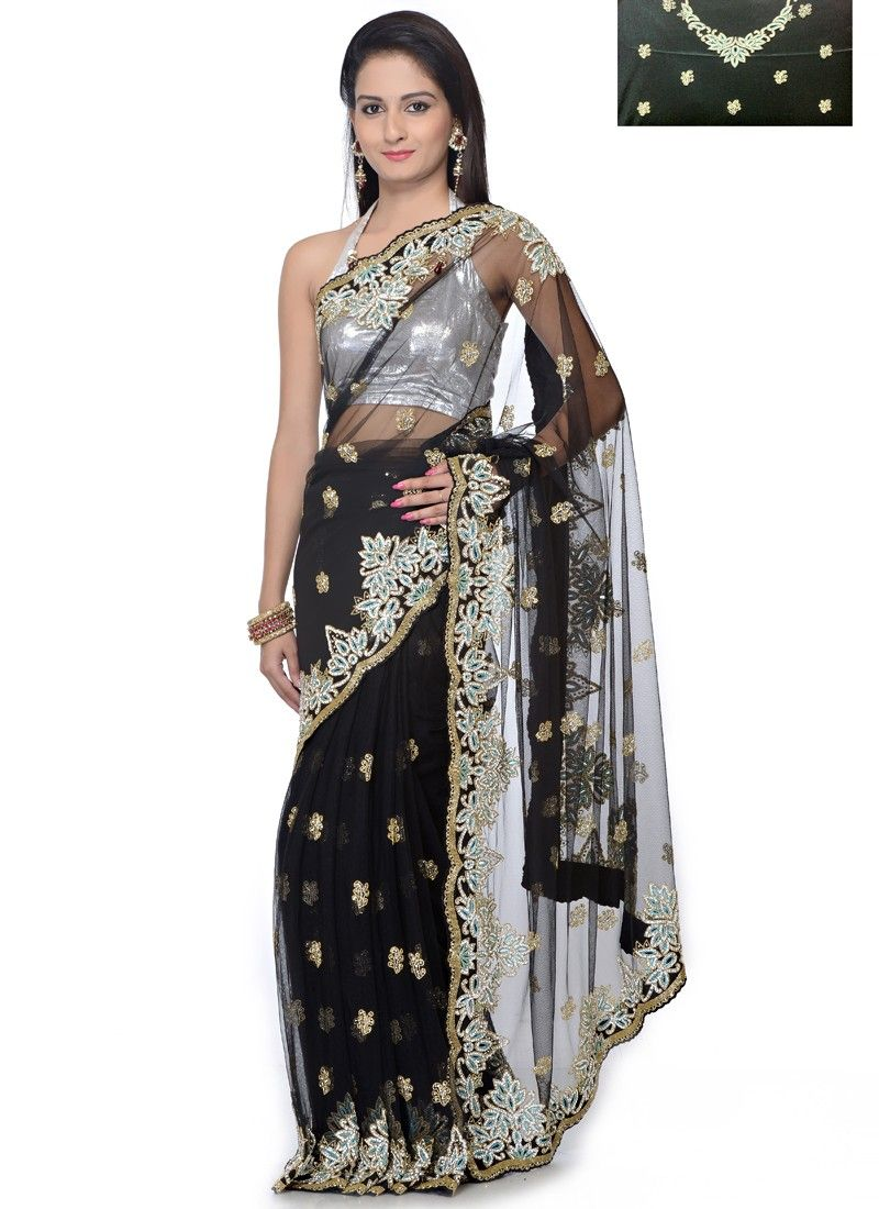 Net And Thread Work Black Color Party Wear Designer Saree ||   Product Code: 4119 || PRICE:- 23,048/- INR ||