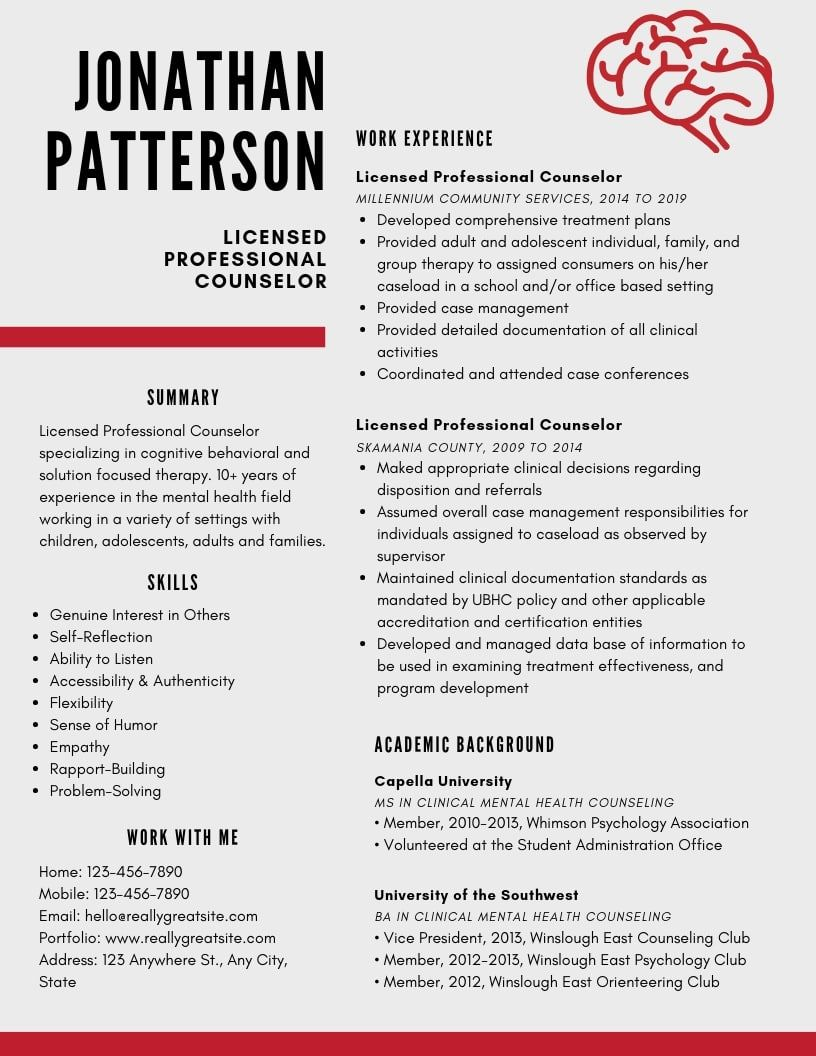 Professional Counselor Resume Samples Templates Pdf Doc 2021 Professional Counselor Resumes Bot Licensed Professional Counselor Resume Examples Professional Resume Examples