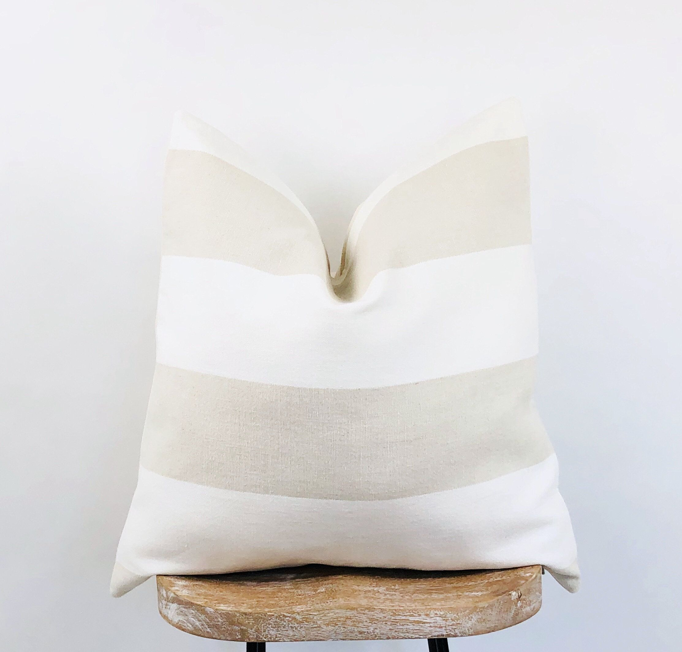 Tan And White Pillow Cover Natural Sand And White Stripe Pillow Stripe Linen Farmhouse Pillow Luk White Pillow Covers Farmhouse Pillows Stripe Pillow