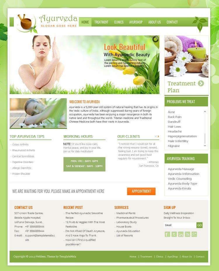 Ayurveda Wordpress Template is designed to medicine, health care and ...