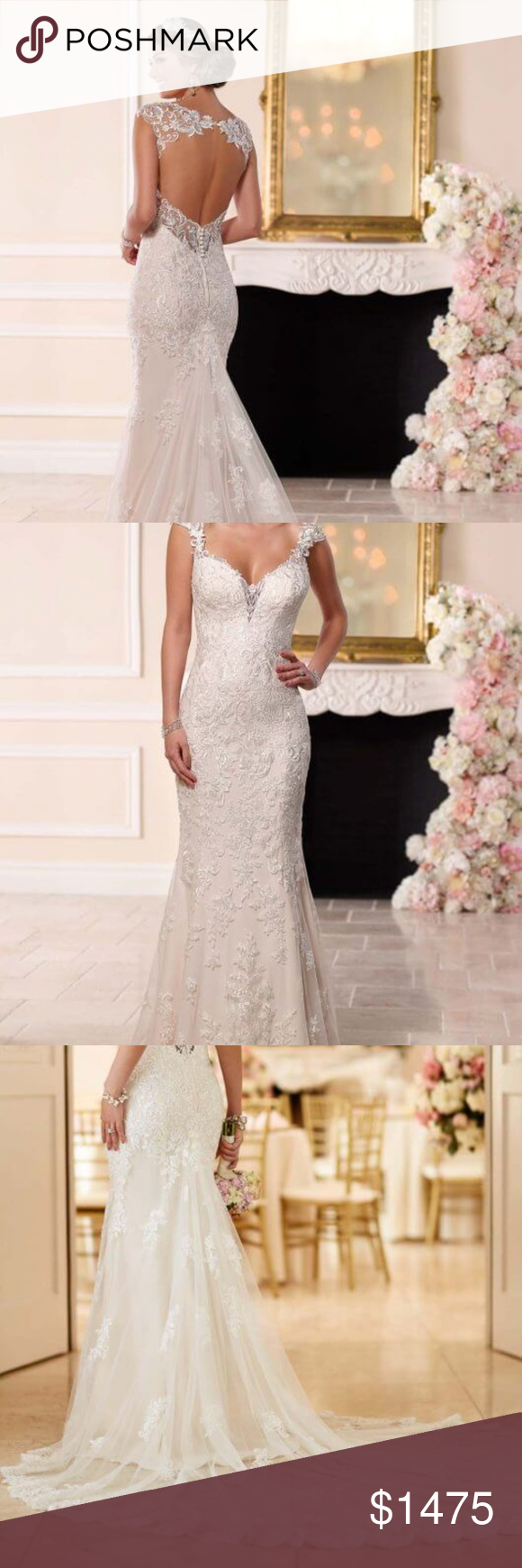 Stella York 6245 Lace Fitted Long Train Open Back Featuring