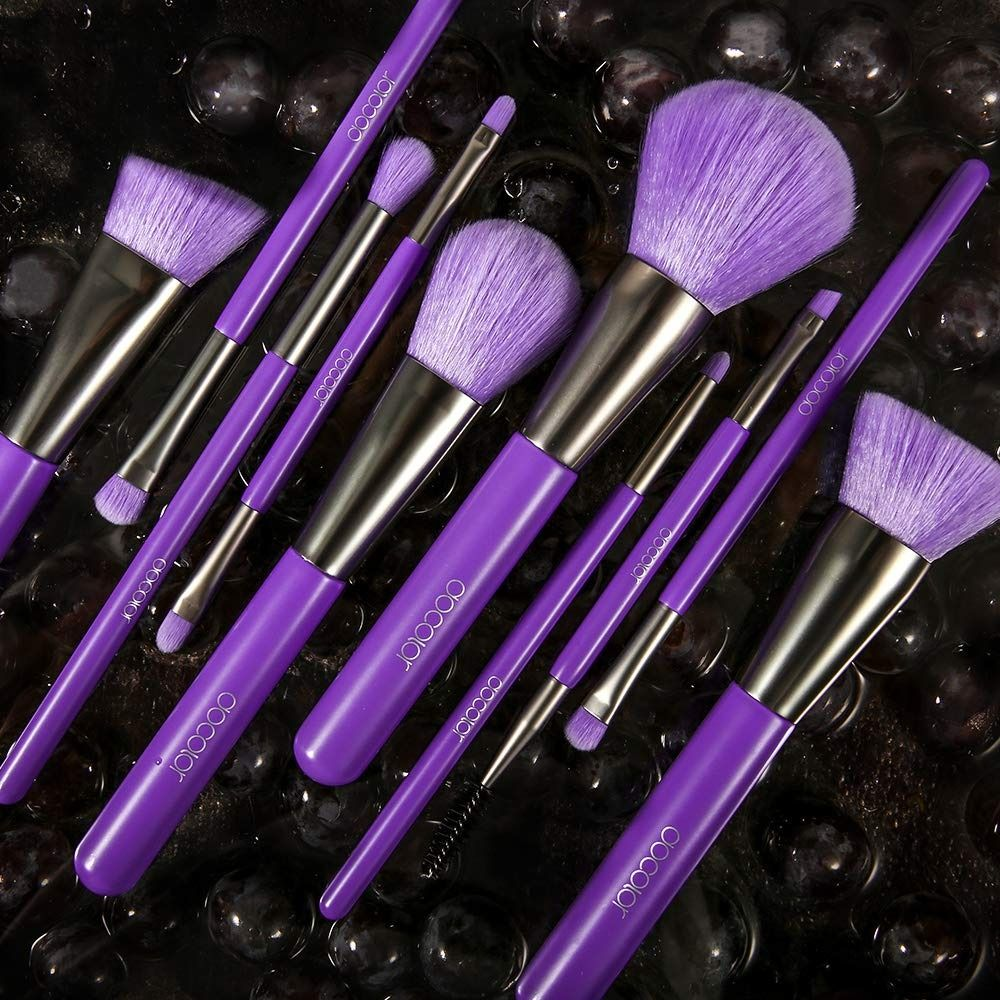 Purple Makeup Brushes Purple makeup brush set, Docolor