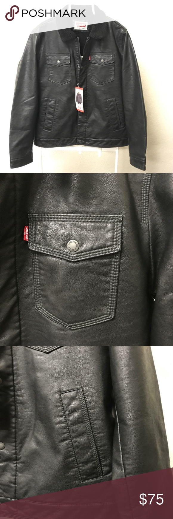 Levi's Mens Faux Leather Trucker Jacket Black Fashion