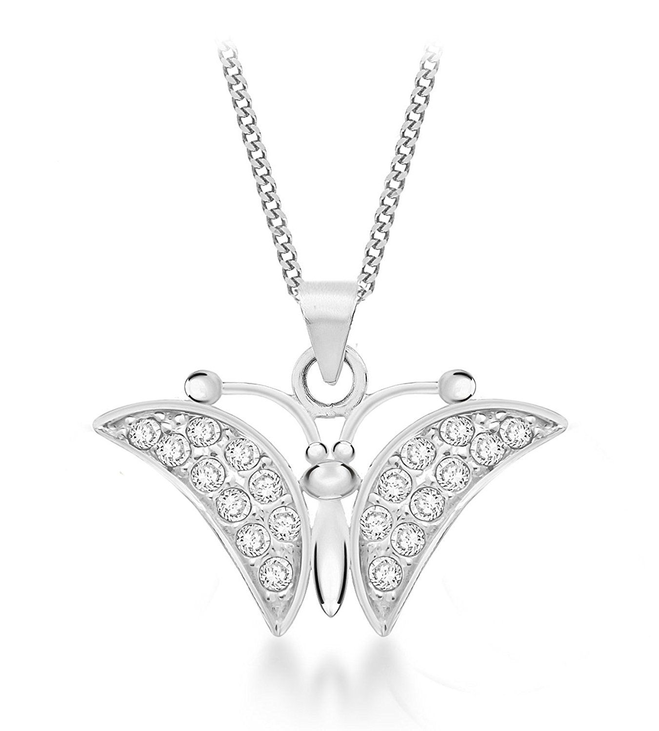Tuscany Silver Sterling Silver Cut Out Butterfly Pendant on Chain Necklace of 46cm/18 5lK0g