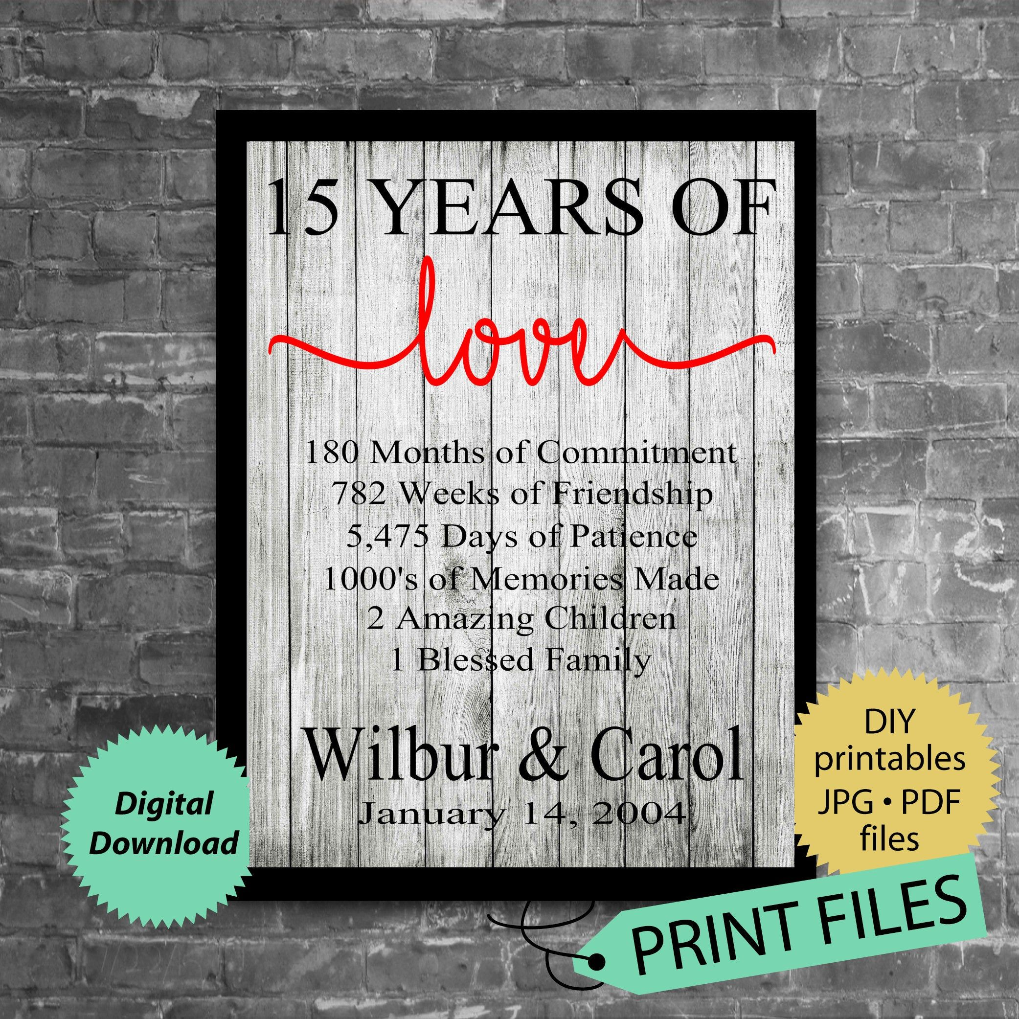 15th Anniversary Gift Anniversary Gift For Husband And Wife Etsy In 2020 25 Year Anniversary Gift 15 Year Wedding Anniversary 15th Anniversary Gift