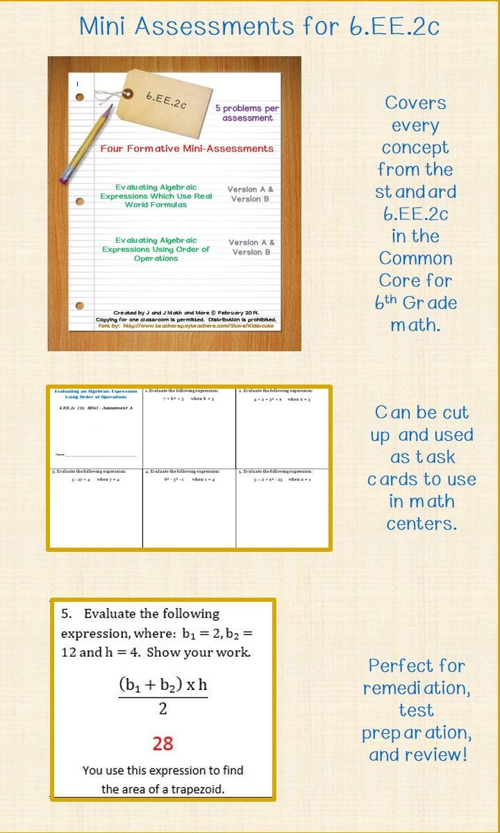 6th Grade Math 6 Ee 2c Mini Assessments Math Expressions Writing Expressions Middle School Math Resources [ 1200 x 720 Pixel ]