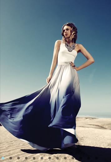 Flowing maxi dress - gradient blues