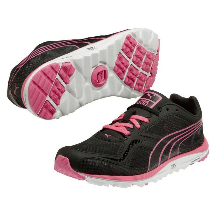 Puma Faas Lite Mesh Golf Shoes, BlackWhite Pink, Womens 9