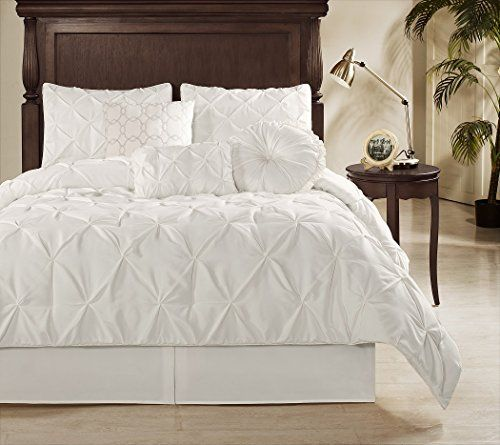 Chezmoi Collection Sydney 7 Piece Pintuck Duvet Cover Set Full Size White