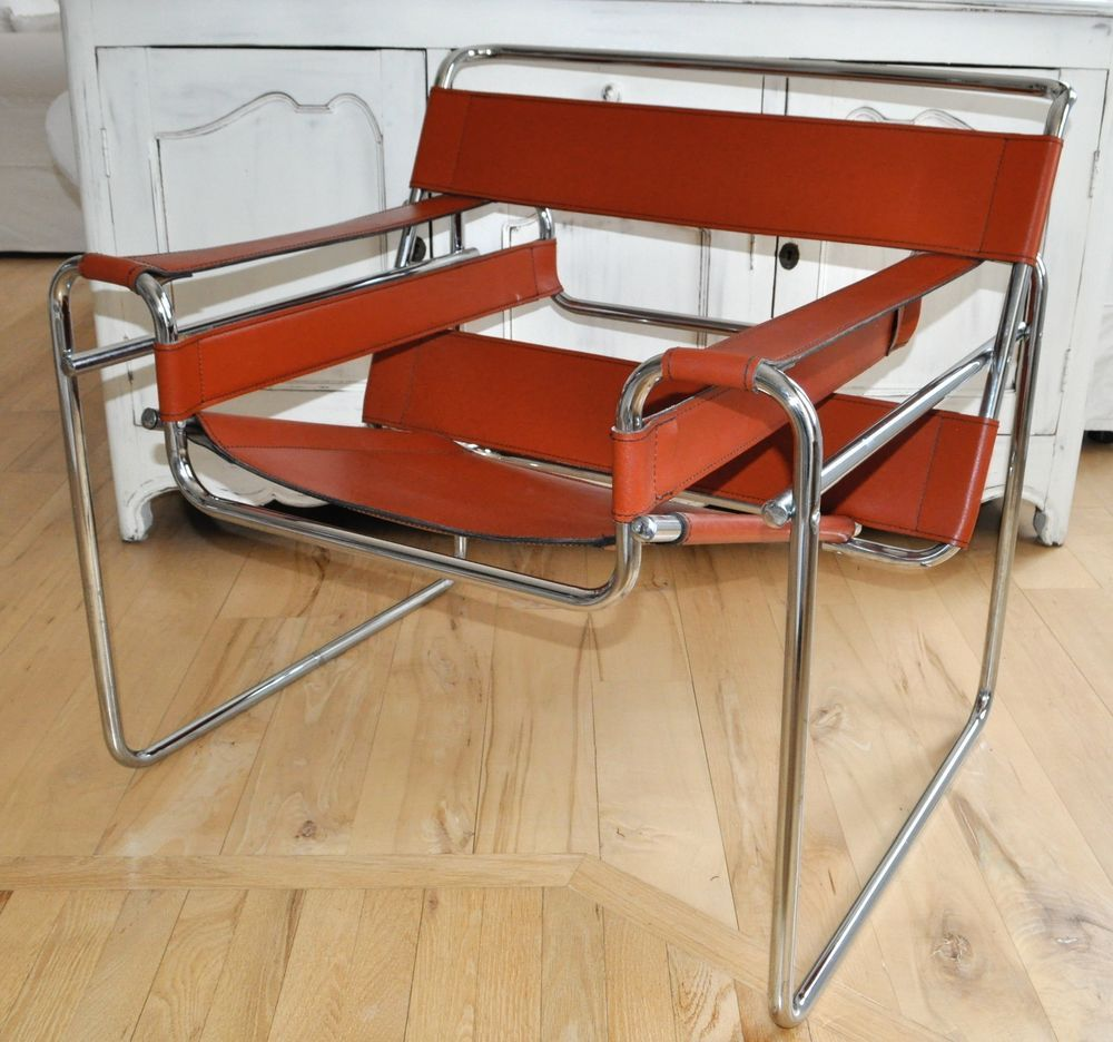 Original Vintage Marcel Breuer Wassily Chair Brown Tan Siena