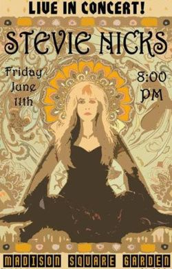 Stevie Nicks Classic Rock Music Concert Poster Psychedelic Hippie Style Concert Posters Music Concert Posters Vintage Concert Posters