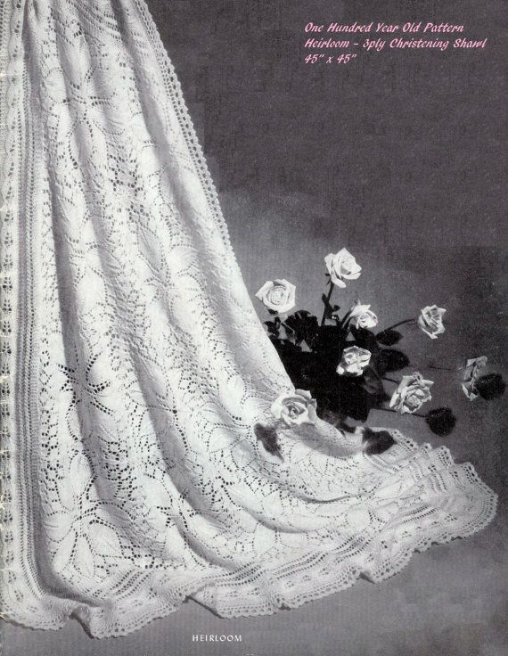 Baby 3ply Christening Shawl 45 ins x 45 ins - pdf of a Vintage ...