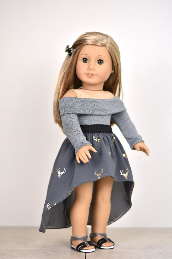 Long Sleeve Off The Shoulder Sweater 18 inch doll clothes COLOR Dark Grey #americangirldollcrafts