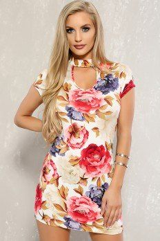 1ea4be5afe8 Beige Party Dresses, Sexy Dresses, Clubwear, Floral Tops, Top Flowers, Hot
