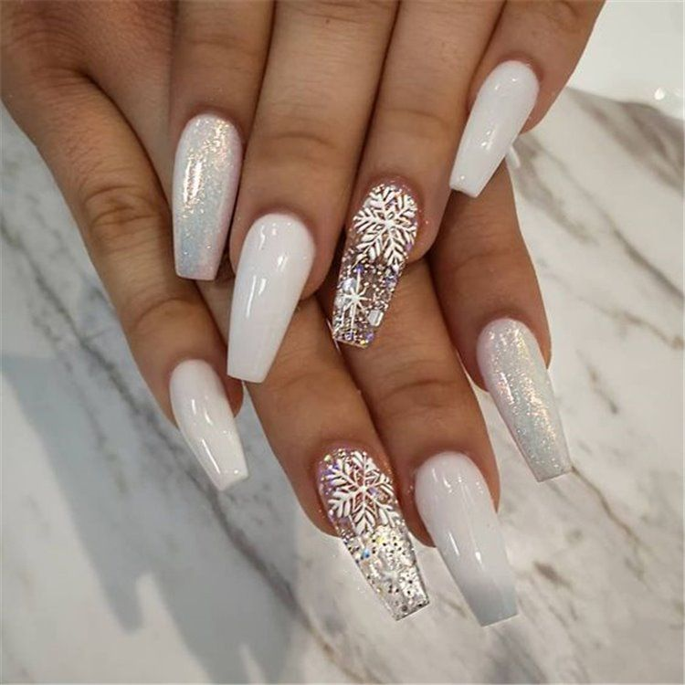 25+ elegant Long White coffin nail Ideas , Fashionre in 2019