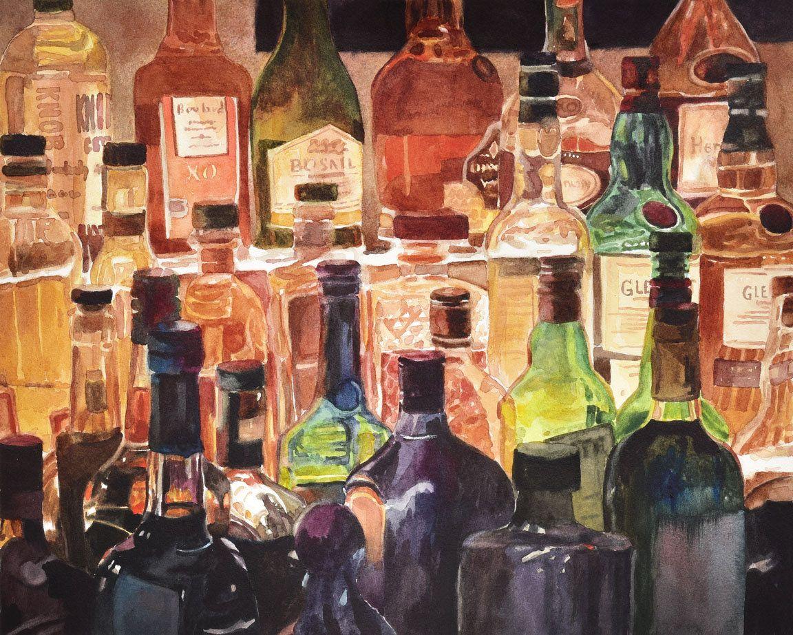Liquor Bottles Bar Art Bar Painting Whiskey Bottles Glass