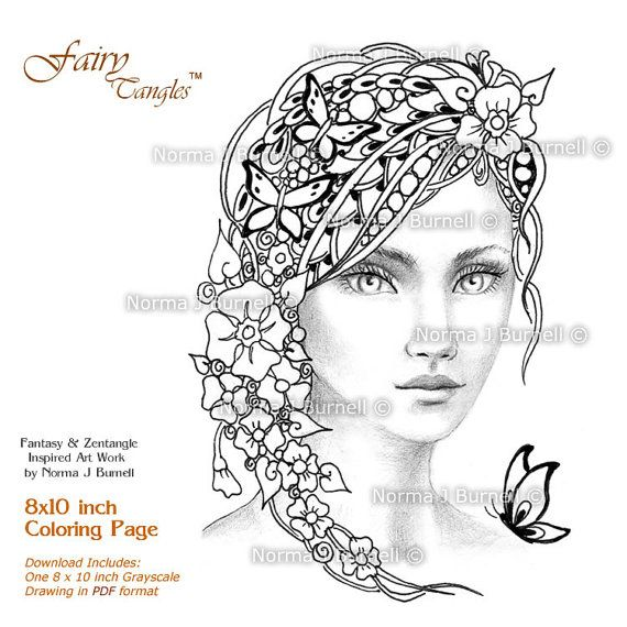 forget me nots fairy tangles adult grayscale printable coloring page by norma burnell coloring book page fairies and butterfly to color