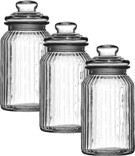 Set Of 3 1300Ml Large New Vintage Glass Kitchen Tea Coffee Sugar Captivating Glass Kitchen Containers Inspiration Design