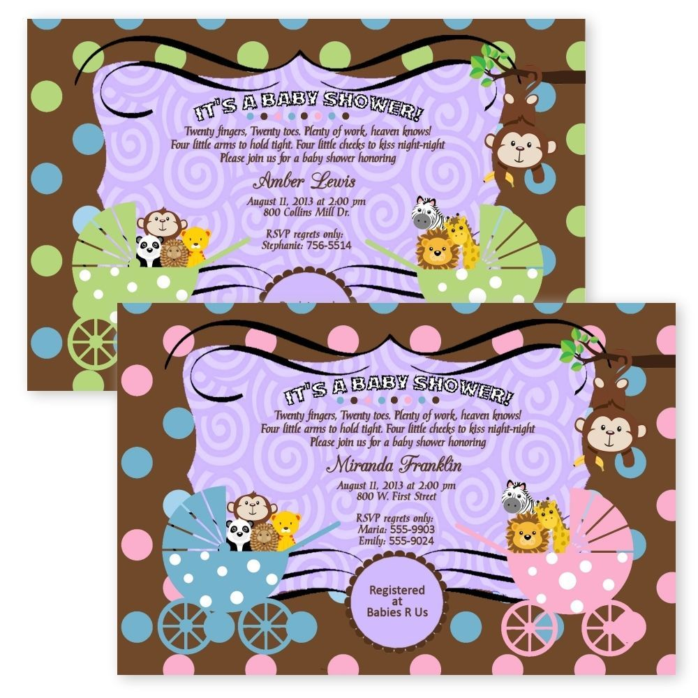 Baby Shower Invitations Jungle Monkey Carriage TWIN Boy Girl Safari ...