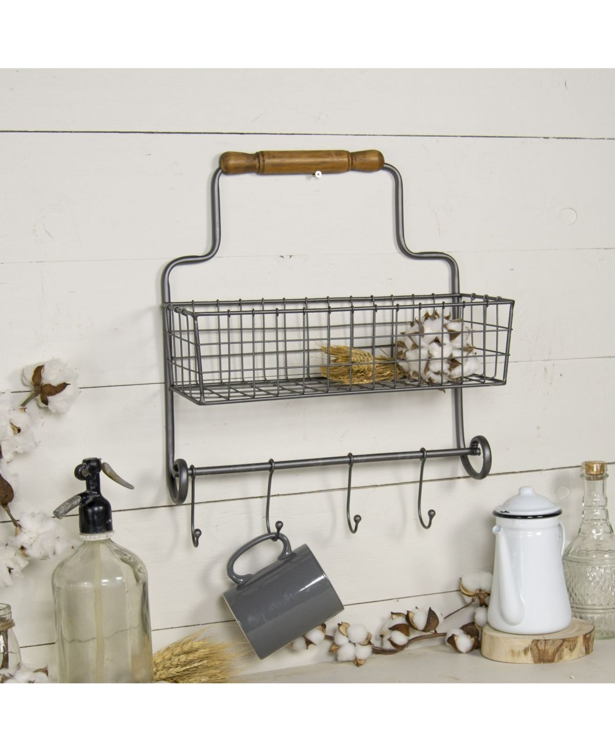 Vip Home Garden Metal Wall Basket With Hooks Reviews Macy S In 2020 Metal Wall Basket Baskets On Wall Hanging Mugs