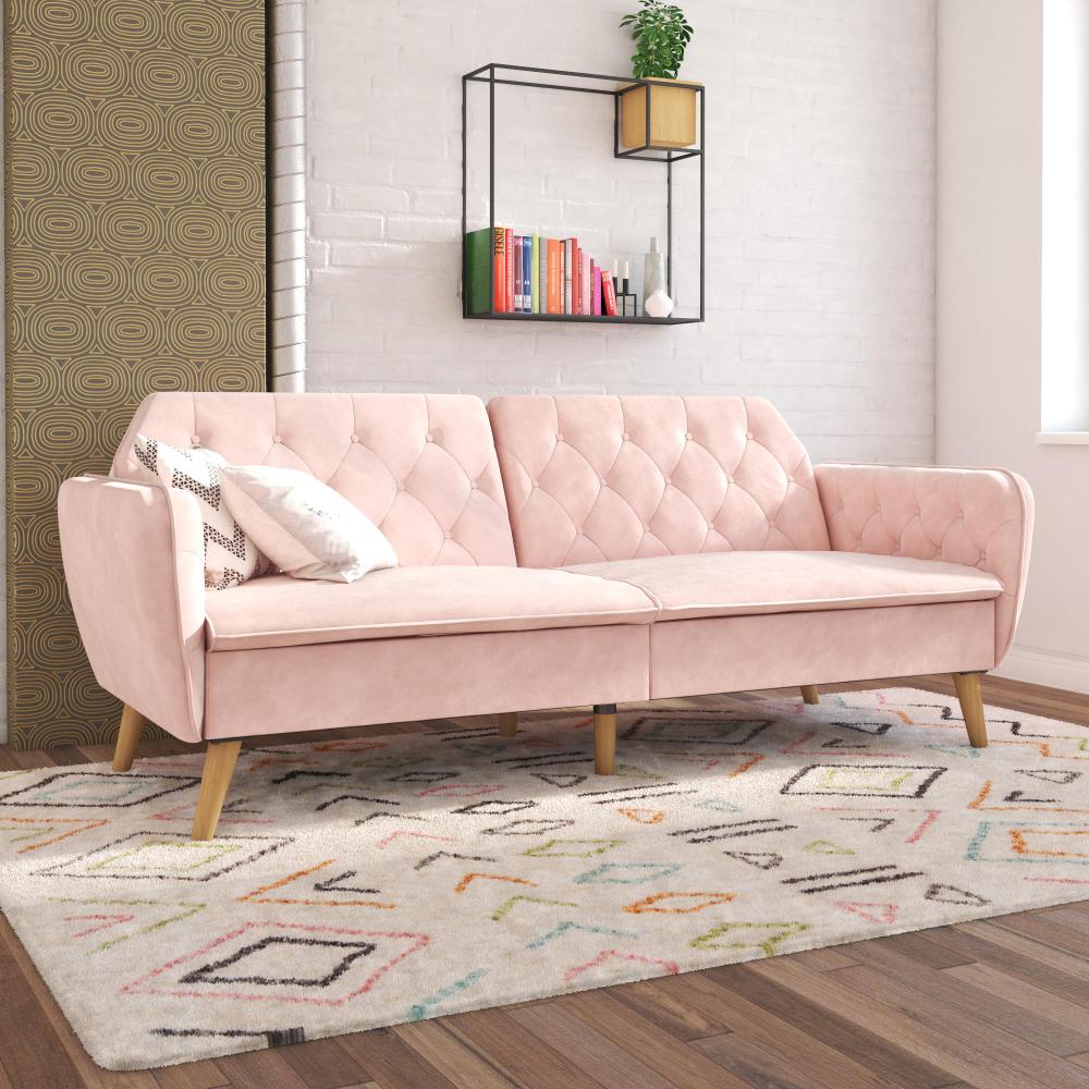 Novogratz Tallulah Memory Foam Futon Convertible Couch Pink Velvet Walmart Com Vintage Velvet Sofa Couch Alternatives Fun Living Room Furniture