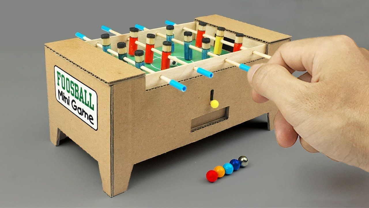 How To Make A Mini Foosball Soccer Table Football Table Game Of 2018 Youtube Foosball Table Diy Diy Boy Gifts Cardboard Crafts