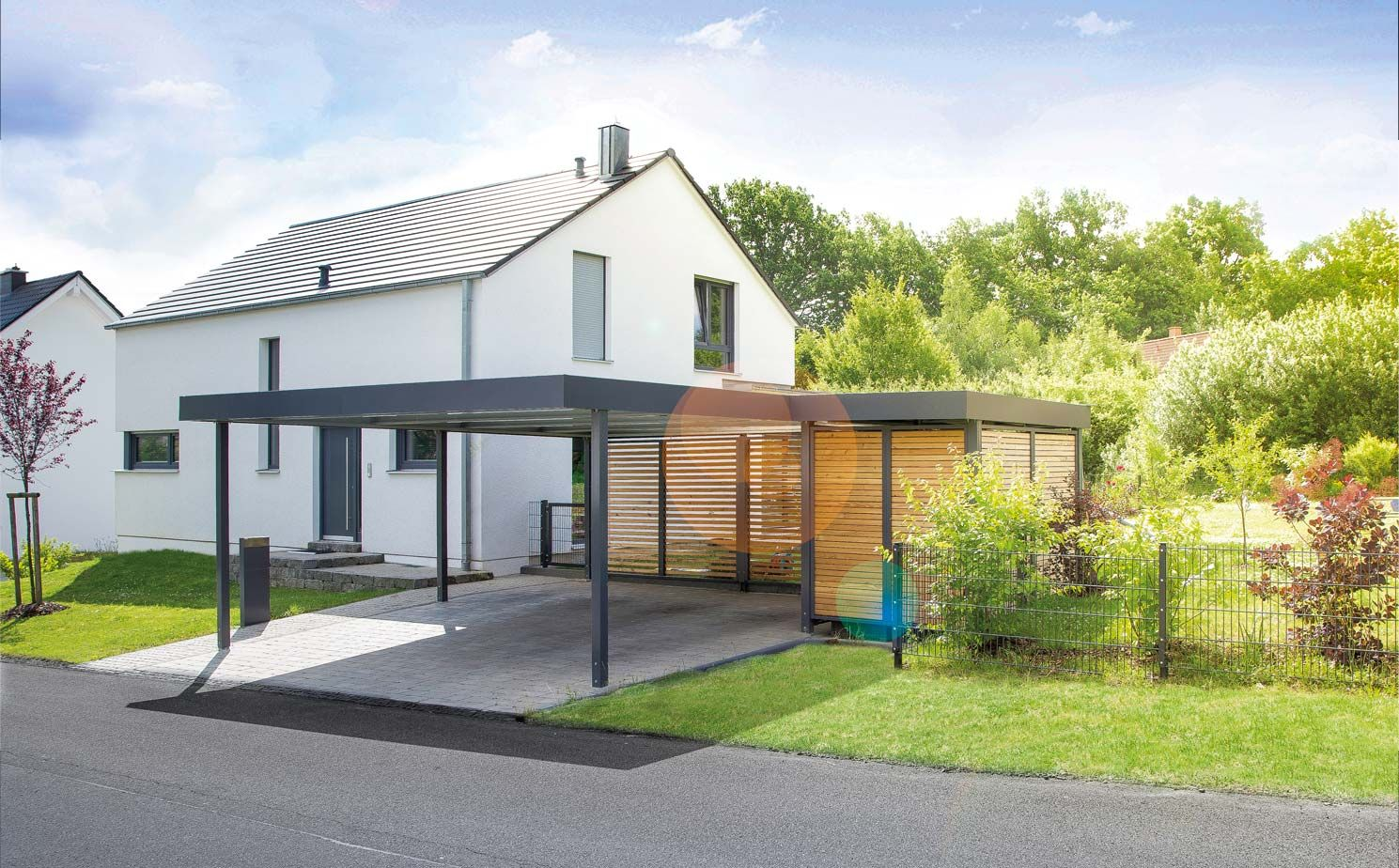 carport mit ger tehaus von siebau carport einhausungen eingangs berdachung m lltonnenbox. Black Bedroom Furniture Sets. Home Design Ideas