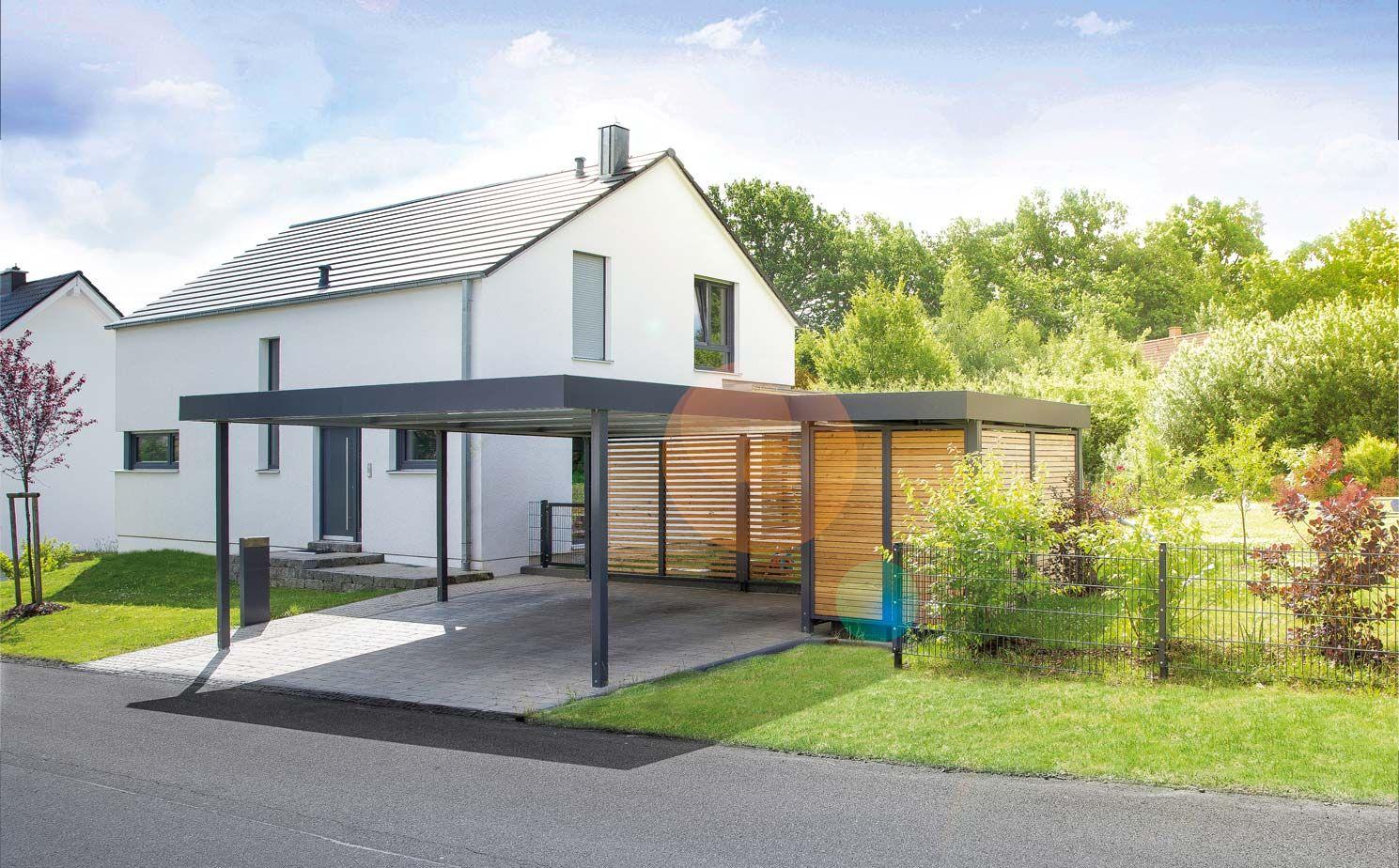 Carport mit gerätehaus von siebau haus bungalow