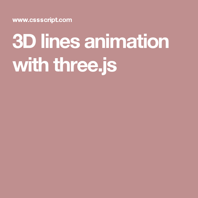 3D lines animation with three js | JavaScript beauty | Line