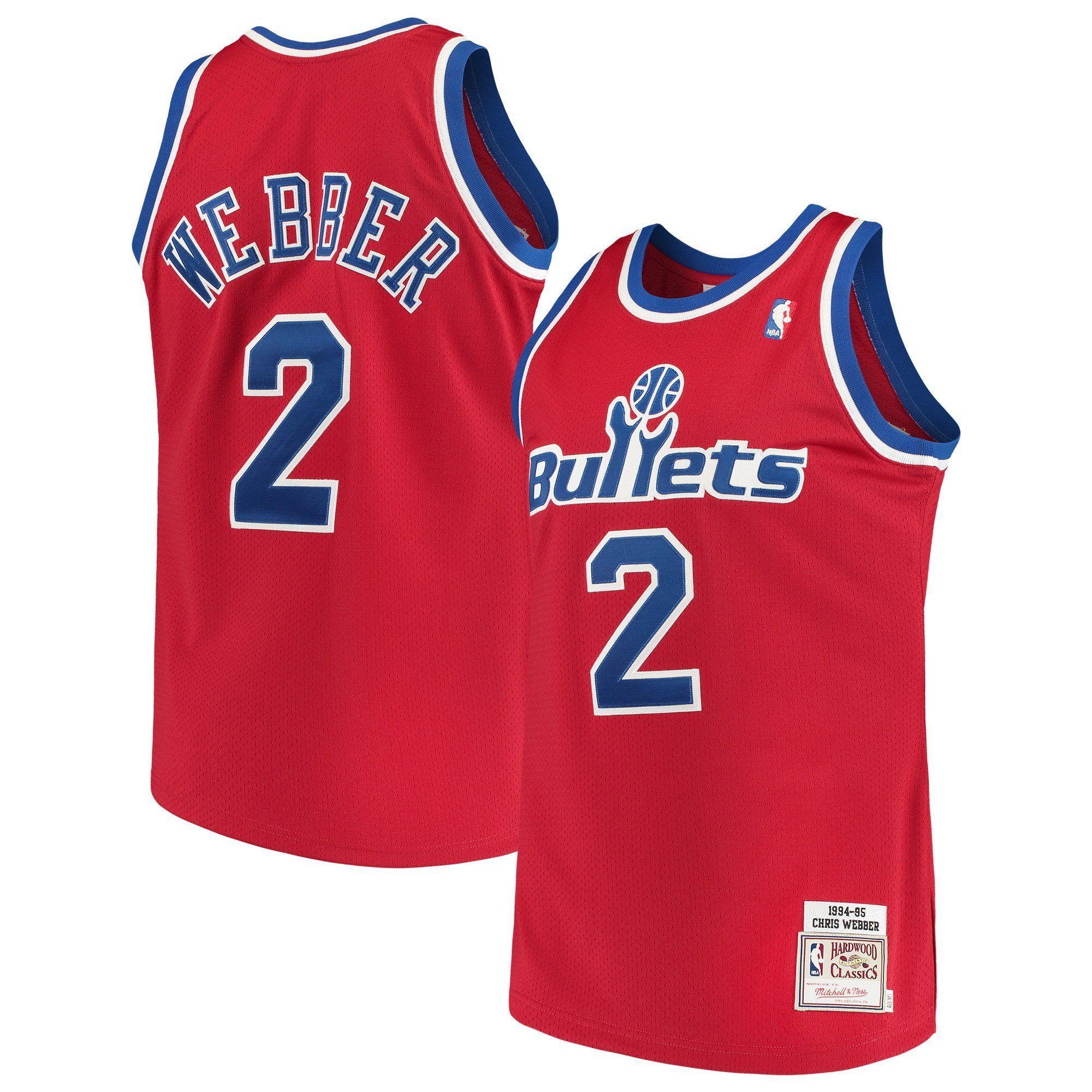 07fc4f58 Men's Washington Bullets Chris Webber Mitchell & Ness Red Road 1994/95 Hardwood  Classics Authentic Jersey