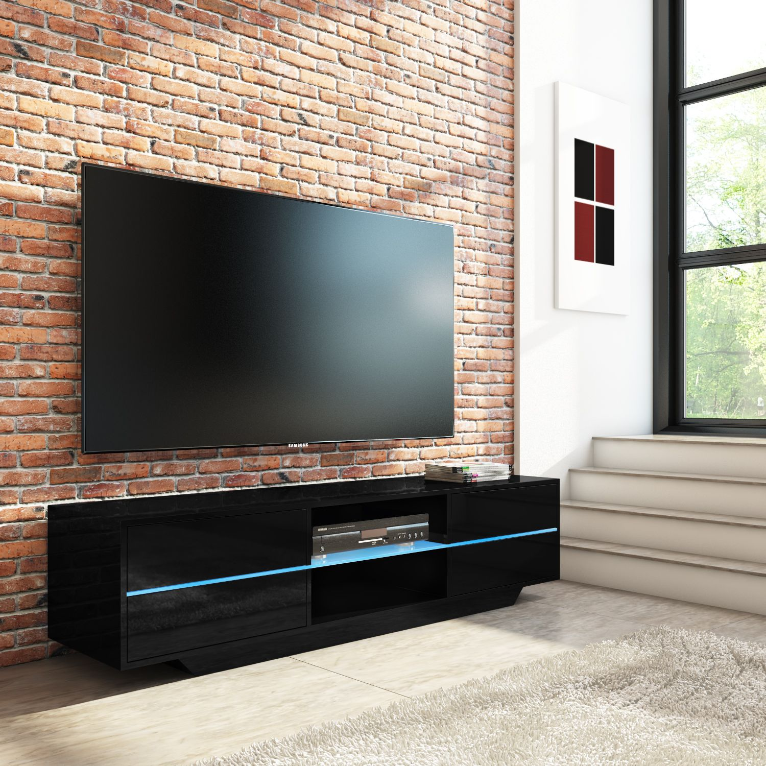 Evoque Black High Gloss Tv Unit With Led Gl Shelf And