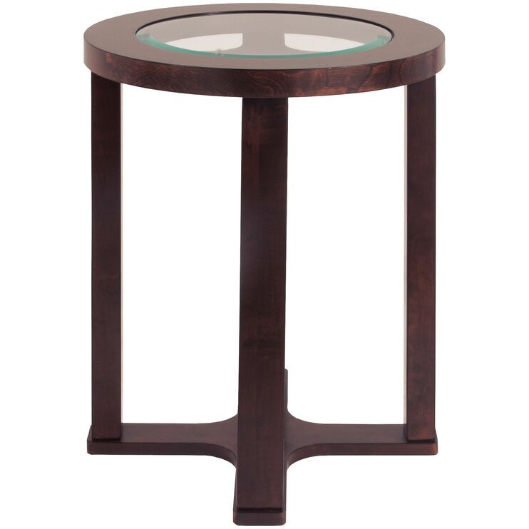 Marion brown round chairside table with images ashley