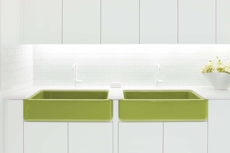 Whitehaven apron front sink in green by Jonathan Adler for Kohler ...