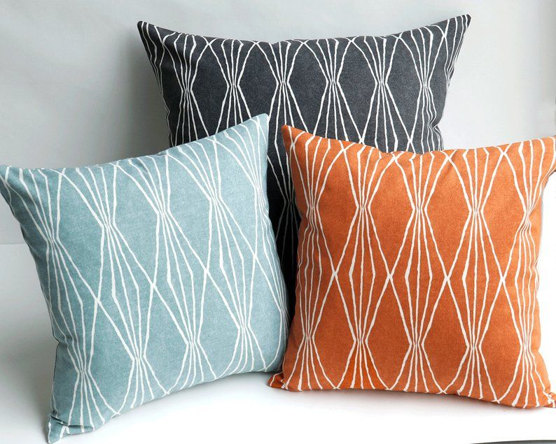 Mid Century Modern Throw Pillows Mid Century Modern Pillow Etsy Modern Throw Pillows Orange Throw Pillows Aqua Pillows