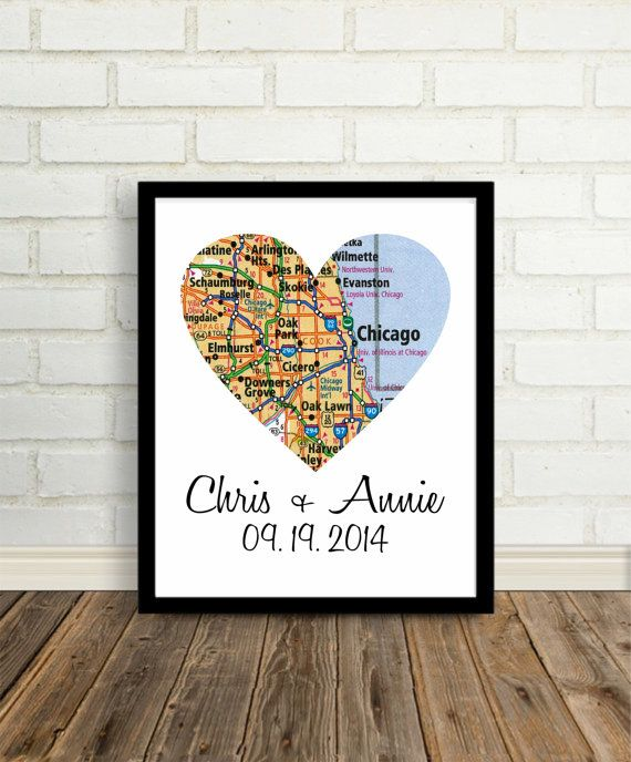 Personalized Map Print Custom Wedding Gift Heart Map Print Anniversary Gift Engagement Gift Holiday Gift Any Location Worldwide