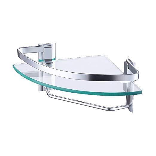 KES Aluminum Bathroom Glass Corner Shelf with Towel Bar Wall Mount