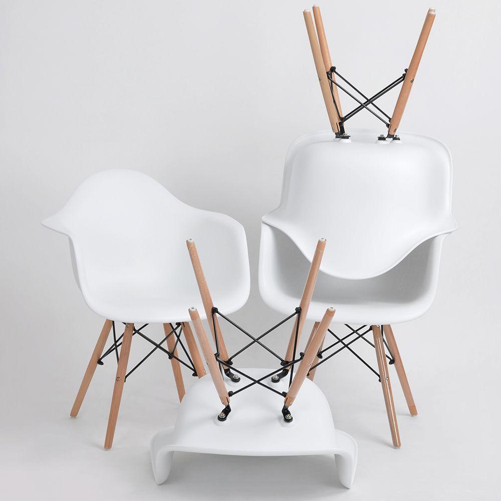 EGGREE Set Von 4 Esszimmer Sessel Für Esszimmer U0026 Wohnzimmer Stühle Mit  Holzbein Weißen Arm Casual