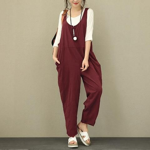 6a96c7611d1 Women Summer Romper Strappy Cotton Linen Long Jumpsuits Casual Dungarees  Loose Bib Overalls Plus Size Wide Leg Rompers Female