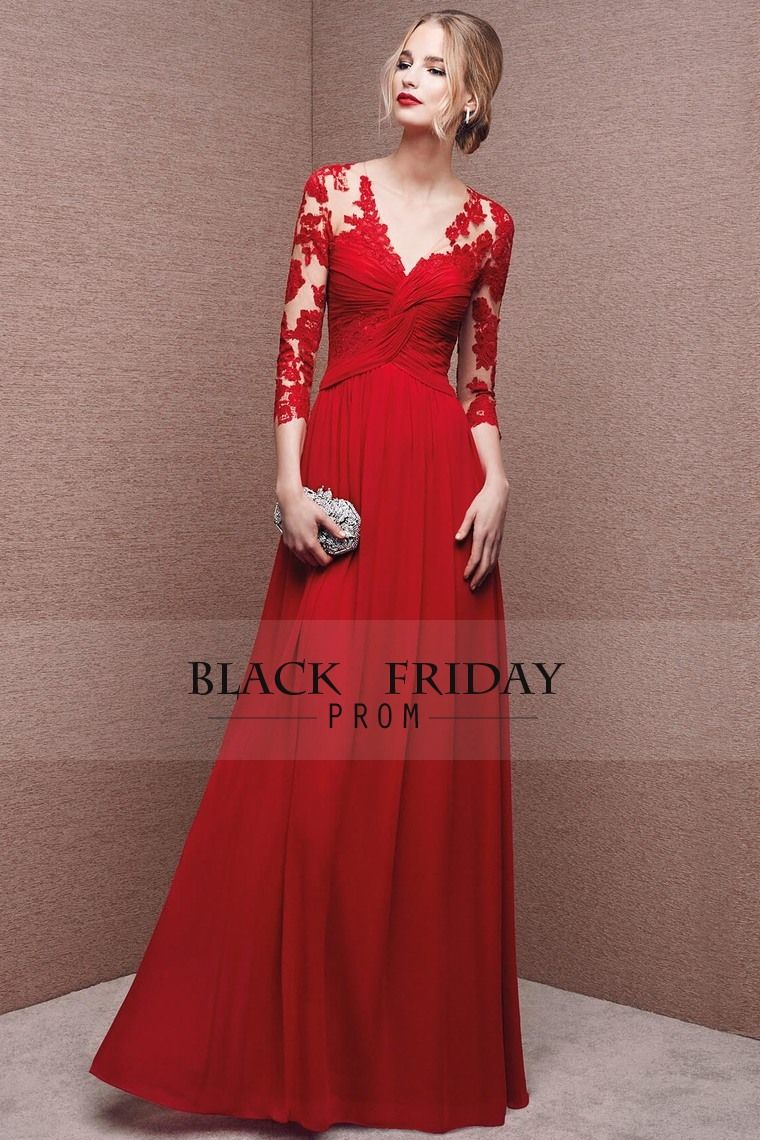 mother of the bride dresses red v neck length sleeve