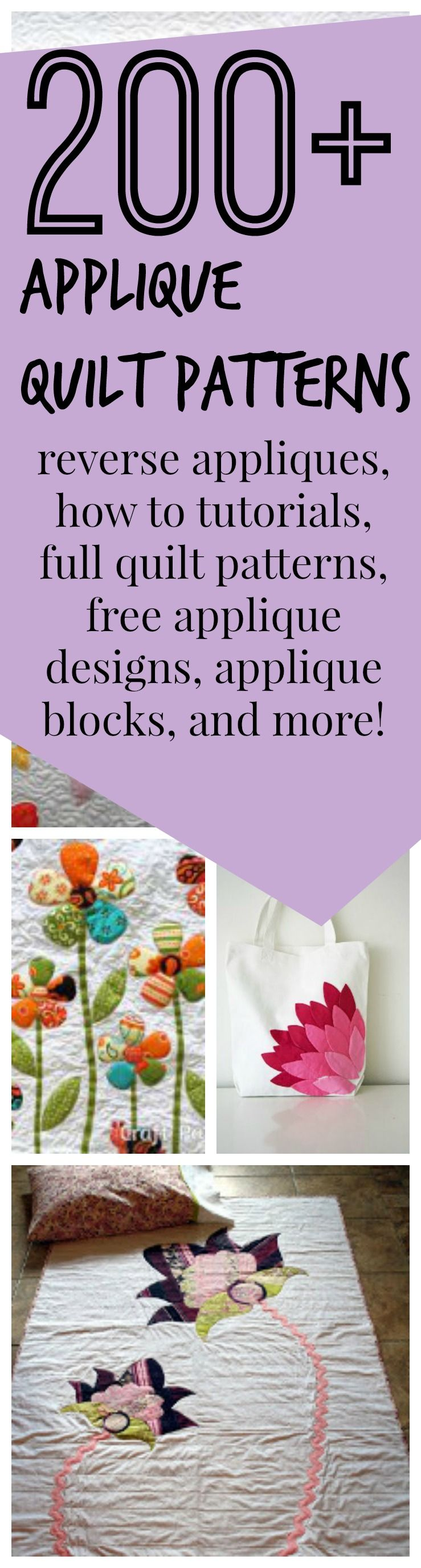 200 + Free Applique Designs and Applique Quilt Patterns - Learn how