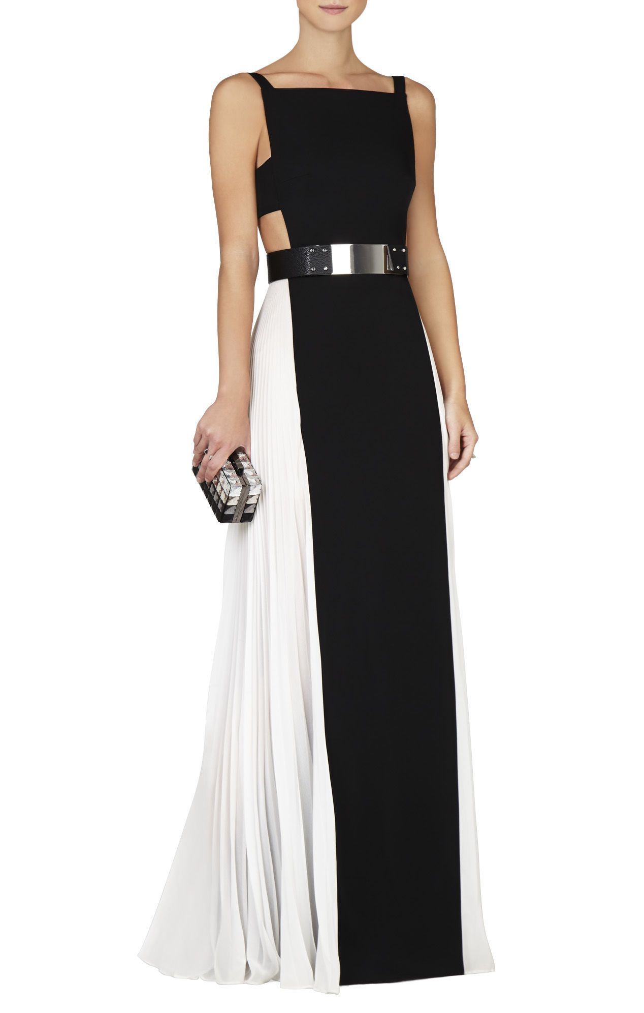 Brielle black-and-white sleeveless side-pleated gown | Available at ...