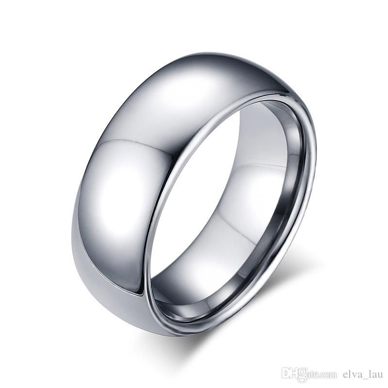 Wholesale New Design Mens Fashion Tungsten Ring High Polished 8mm Wide Simple Shiny Silver Weddin Tungsten Wedding Rings Rings For Men Engagement Rings For Men