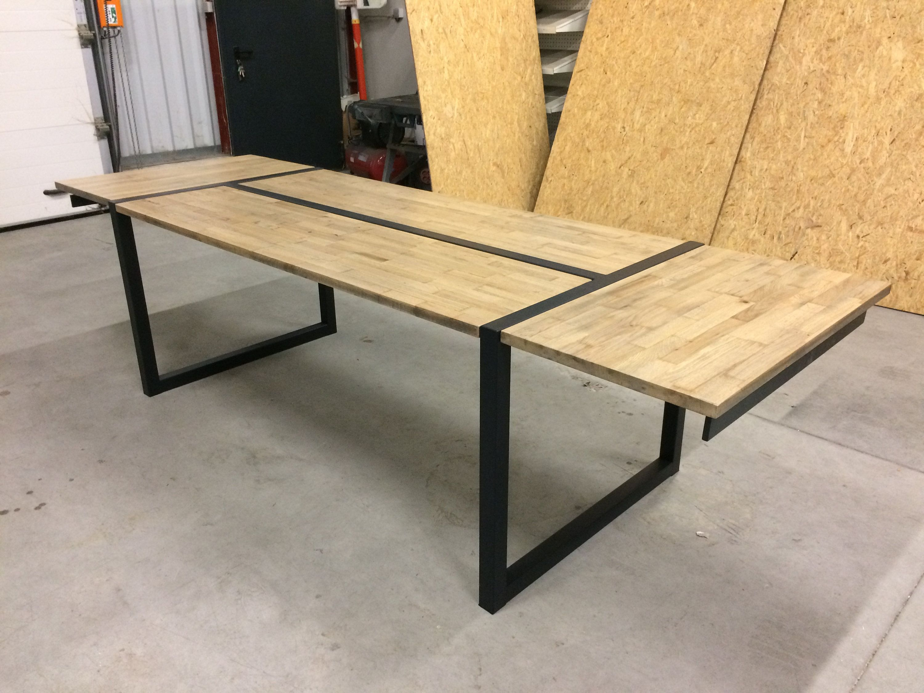 metal table and solid oak with