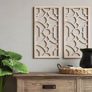 Set Of 2 Wood Lattice Wall Hanging Brown Threshold In 2020 Lattice Wall Wood Wall Art Decor Wood Wall Hanging Diy